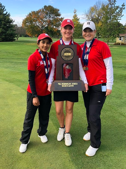 Barrington+girls+golfers%2C+from+left%2C+Caroline+Smith%2C+Mara+Janess+and+Sophia+Sulkar+display+the+Fillies%27+Class+2A+state+runner-up+trophy+Saturday+at+Hickory+Point+Golf+Club+in+Decatur.+Janess+won+the+individual+championship%2C+while+Smith+was+tied+for+third+and+Sulkar+tied+for+fifth.